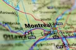 Montreal on map. Close up shot of Montreal. is the most populous municipality in the Canadian province of Quebec Stock Images