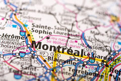 Montreal on map Royalty Free Stock Image