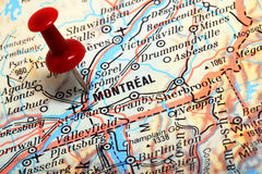 Montreal on the Map. Stock Photography