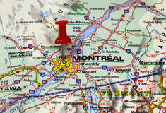 Montreal. Map with pin point of montreal in canada Royalty Free Stock Photography