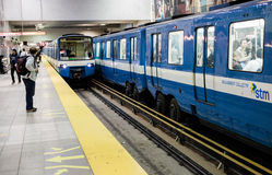 Montreal Metro. Montreal, Canada, October 15, 2013: Montreal Metro during the evening a Berri station royalty free stock photo