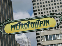Montreal metro subway. Metropolitain city symbol sign royalty free stock photo