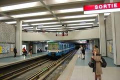 Montreal Metro Subway. Montreal Metro at Place des Arts Subway station, Montreal, Quebec, Canada royalty free stock image