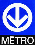 Montreal Metro (subway) sign. This image shows the Montreal Subway Symbol stock images