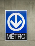 Montreal metro (Subway) sign. Montreal's subway train called the metro stock photography