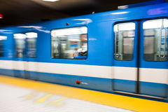 Montreal Metro Train with Motion Blur Royalty Free Stock Photos