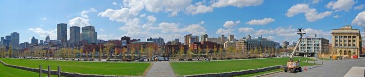 Montreal miasta linia horyzontu panorama, Quebec, Kanada zdjęcia stock
