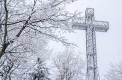 Montreal Mont-Royal Cross during snow storm Royalty Free Stock Images