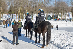Montreal Mounted Patrol officers in Mont-Royal park. Stock Photo
