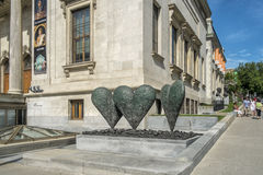 The Montreal Museum of Fine Arts MMFA. 3 hearths in front on the museum Royalty Free Stock Image