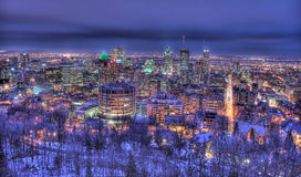 Montreal at night. A birdseye view of beautifully lit downtown in Montreal from mont-royal Stock Image