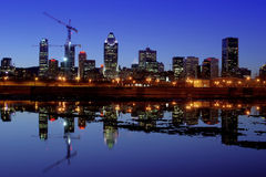 Montreal at night. View of beautifully lit downtown in Montreal in hdr Royalty Free Stock Photo