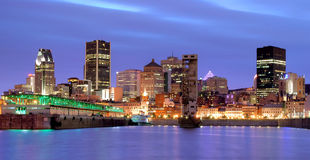 Montreal at night. View of beautifully downtown in Montreal in hdr Royalty Free Stock Photography