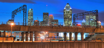 Montreal at night. View of beautifully lit downtown in Montreal in hdr Stock Image
