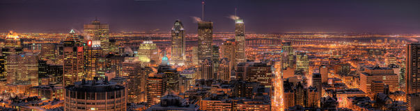 Montreal at Night. HDR Image of the Montreal Downtown Core at Night Stock Photo
