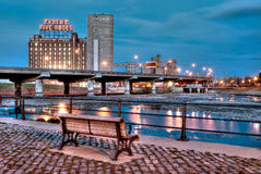 Montreal at night Farine Five Roses Royalty Free Stock Image