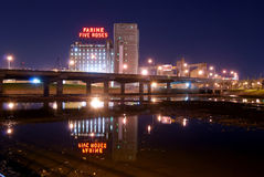 Montreal at night Farine Five Roses Royalty Free Stock Photography