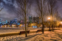 Montreal night scene royalty free stock images