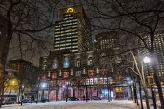 Montreal night scene stock photography