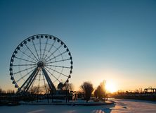 Montreal Observation Wheel at Sunrise in the Winter royalty free stock photography