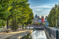 Montreal Old Port scene royalty free stock photography
