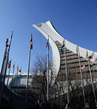 Montreal Olympic Stadium. Picture of the Montreal Olympic Stadium tower and flags Royalty Free Stock Image