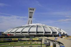 Montreal Olympic Stadium. MONTREAL,CANADA -AUGUST 8. The Montreal Olympic Stadium and tower on August, 08 , 2012. It's the tallest inclined tower in the world Stock Image