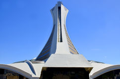 The Montreal Olympic Stadium. MONTREAL,CANADA - AUGUST 11.The Montreal Olympic Stadium and tower on August 11, 2013. It's the tallest inclined tower in the world Royalty Free Stock Images