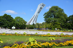 Montreal Olympic Stadium. MONTREAL,CANADA -AUGUST 08 2015. The Montreal Olympic Stadium and tower. It's the tallest inclined tower in the world.Tour Olympique Royalty Free Stock Image