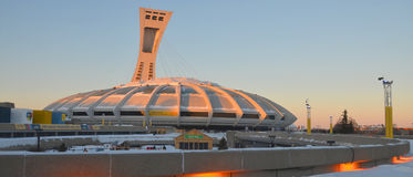The Montreal Olympic Stadium. MONTREAL,CANADA - JANUARY 3.The Montreal Olympic Stadium and tower on January 3 , 2013. It's the tallest inclined tower in the Stock Photography