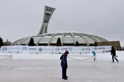 Montreal Olympic Stadium. MONTREAL,CANADA - MARCH.3.The Montreal Olympic Stadium and tower on March 3 , 2013. It's the tallest inclined tower in the world.Tour Royalty Free Stock Images