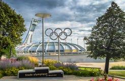 Montreal Olympic Stadium och cirklar Fotografering för Bildbyråer