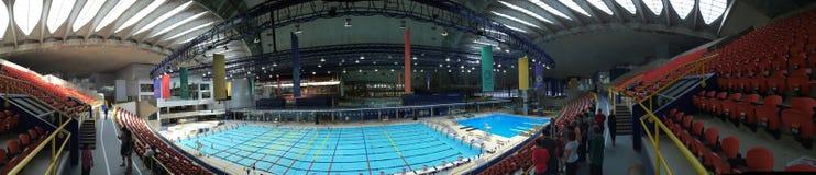 Montreal Olympic Stadium pölpanorama Royaltyfri Foto