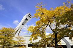 Montreal Olympic Stadium tower. MONTREAL,CANADA - OCTOBER 21. The Montreal Olympic Stadium tower on October 21, 2012. It's the tallest inclined tower in the Stock Photo