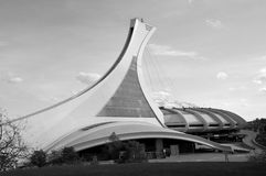 Montreal Olympic Stadium tower. MONTREAL,CANADA - OCTOBER 21. The Montreal Olympic Stadium tower on October 21, 2012. It's the tallest inclined tower in the Royalty Free Stock Photos