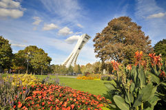 Montreal Olympic Stadium tower. MONTREAL,CANADA - OCTOBER 21. The Montreal Olympic Stadium tower on October 21, 2012. It's the tallest inclined tower in the Royalty Free Stock Photography