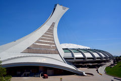 The Montreal Olympic Stadium and tower. MONTREAL CANADA MAY 17 2015 The Montreal Olympic Stadium and tower. The tallest inclined tower in the world.Tour Royalty Free Stock Photo