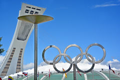 Montreal Olympic Stadium tower, cauldron and olympic rings Royalty Free Stock Images