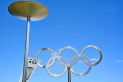 Montreal Olympic Stadium tower, cauldron and olympic rings Royalty Free Stock Photo