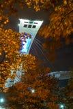 Montreal Olympic Stadium & träd Royaltyfri Foto