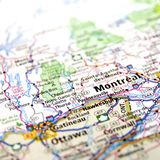 Montreal and Ottawa. A close up of a map with the focus Montreal and Ottawa Stock Image