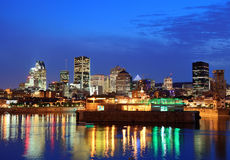 Montreal over river at dusk Royalty Free Stock Images