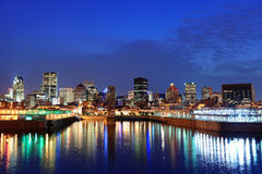 Montreal over river at dusk Stock Photography