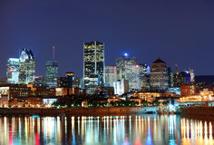 Montreal over river at dusk royalty free stock photo