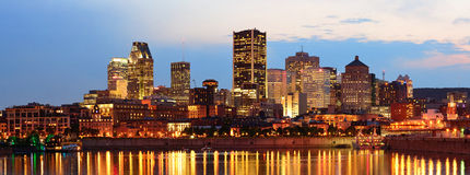 Montreal over river at dusk Royalty Free Stock Photography