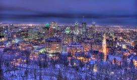 Montreal på natten Fotografering för Bildbyråer
