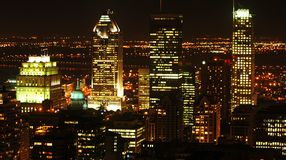 Montreal på natten royaltyfri foto