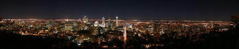 Montreal panorama by night. A panorama of the city centre of Montreal by night stock photo
