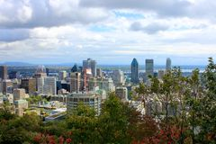 Montreal past the Trees of Parc Mont-Royal Stock Photo