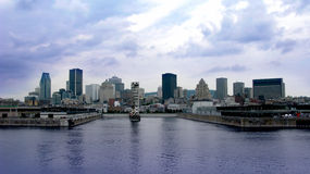 Montreal port and skyline